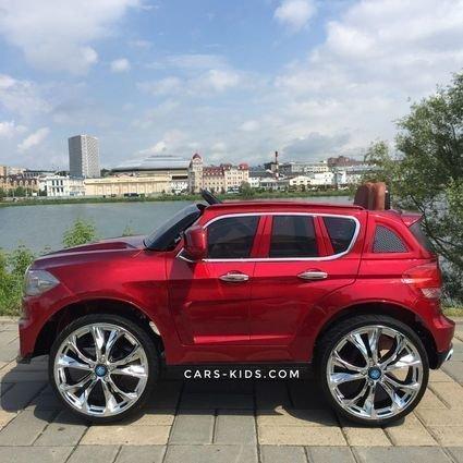 Электромобиль BMW X5 F15 красный (колеса резина, кресло кожа, пульт, музыка, усиленный аккумулятор)